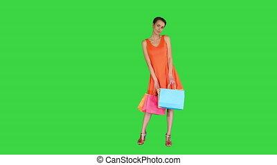 자세를 취함, 녹색, 카메라, key., 쇼핑 백, 스크린, 여자, 다색이다, chroma