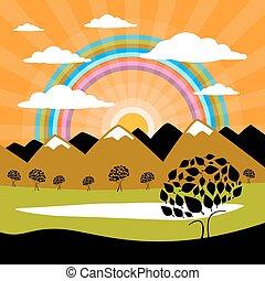 자연, 배경, 와, 산, 와..., 태양, 와, 나무, 구름, 와..., 호수