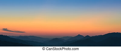 자연, 보이는 상태, 의, 일몰, 위의, 산