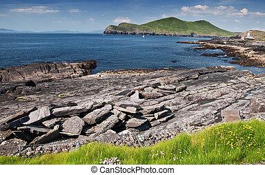 자연, 시골, 무대의, 아일랜드, 시골의 풍경