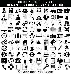자원, 세트, 재정, 사무실 아이콘, 사업, 인간