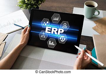 자원, system., automation., 기업, 사업, erp, 과정, planning.