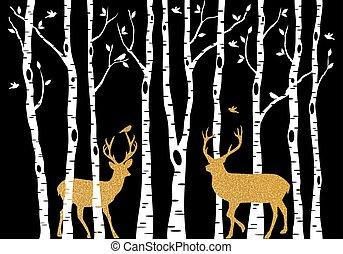 자작나무 나무, 와, 금, 크리스마스, 사슴, 벡터