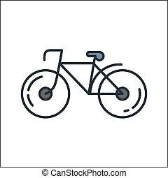 자전거, 아이콘, 색, 삽화, 디자인