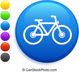 자전거, 아이콘, 통하고 있는, 둥근, 인터넷, 단추