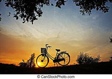 자전거, 에서, 일몰