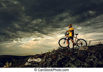 자전거, 자전거 타는 사람, 구, 옥외