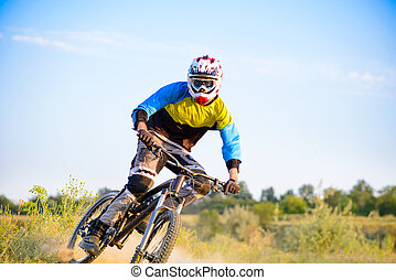자전거 타는 사람, 구, 그만큼, 자전거, 통하고 있는, 그만큼, 길게 나부끼다