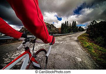 자전거 타는 사람, 도로에