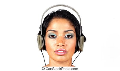 작고 보기 어리석은 사람, retro, 헤드폰, 통하고 있는, a, 여성의 것, head., 매우, 디스코