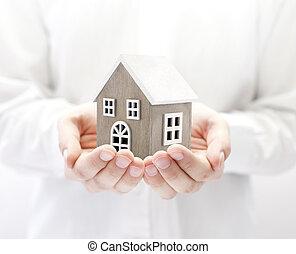 작다, 나무의 장난감, 집, 에서, 손