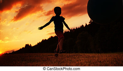 작다, 소년, 공을 연출하는 것, 통하고 있는, 그만큼, 들판