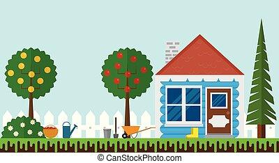 작다, 여름의 집, 정원의, 와, 고매하다, 바람 빠진 타이어, 디자인