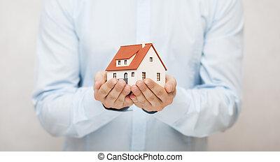작다, 장난감 집, 에서, 손