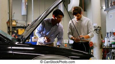 작업장, 시험하는, 차, 엔지니어, 4k, 엔진