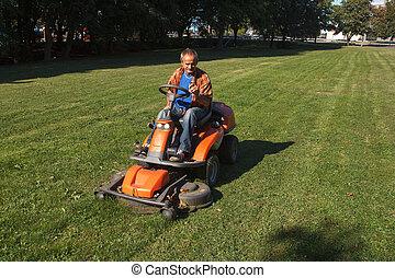 잔디, 절단, grass., ride-on, 잔디 깎는 사람