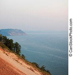 잔 곰 모래 언덕, 와..., 미시간호, -, 일몰