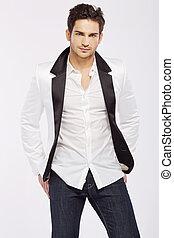 잘생긴, 나이 적은 편의, 사람, 입는 것, 백색, 재킷