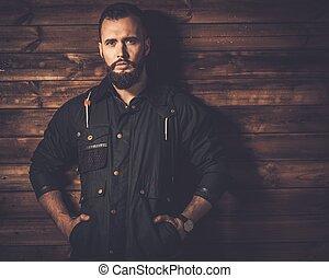 잘생긴, 남자, 와, 수염, 입는 것, 밀초를 바르는, 캔버스, 재킷