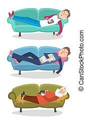 잠, 잠, 소파, 사람, 성격, 늙은, 청년, 사람, 벡터, 소파, illustration.