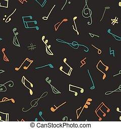 잡색의, seamless, 음악, 패턴