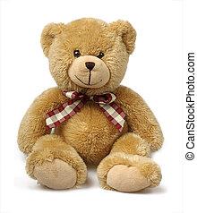 장난감 곰, 고립된, 백색 위에서
