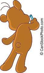 장난감 곰, 그림, 통하고 있는, 벽