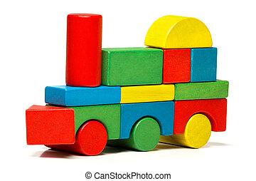 장난감 기차, 다색도 인쇄다, 기관차, 나무의 블록, 수송, 위의, 백색 배경