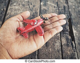 장난감 비행기, 통하고 있는, 손