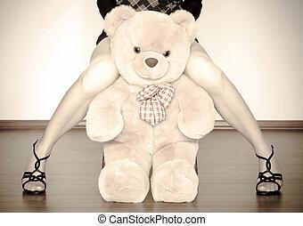 장난감, 사이의, 소녀, 다리