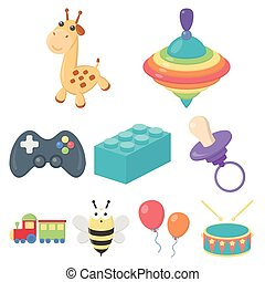 장난감, 세트, 아이콘, 에서, 만화, style., 크게, 수집, 의, 장난감, 벡터, 상징, 주식 일러스트