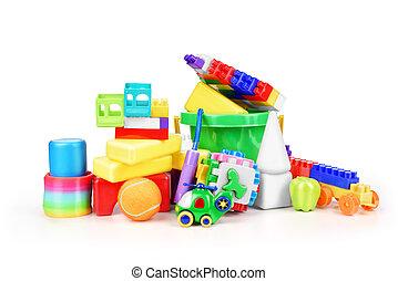 장난감, 수집, 고립된, 백색 위에서, 배경