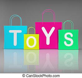장난감, 은 자루에 넣는다, 쇼, 은 쇼핑을 소매한다, 와..., 구입