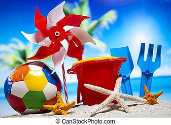 장난감, 치고는, 그만큼, 바닷가, 휴가