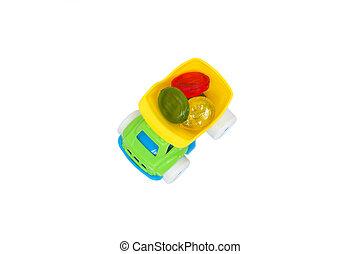 장난감 트럭, 와, 사탕, 뒤안에