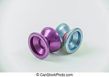 장난감, yo yo, 고립된, 백색 위에서, 배경