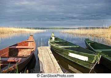 장면, 와, 2, 보트, 호수, 와..., 교각