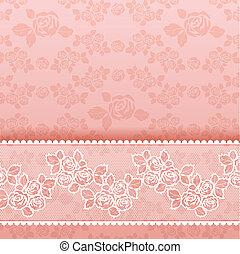 장미, 배경에, 사각형, 레이스, 핑크