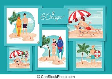 장소, 디자인, 사람, 세트, 여름, 5
