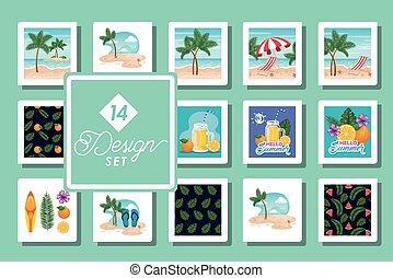 장소, 14, 패턴, 디자인, 세트, 여름