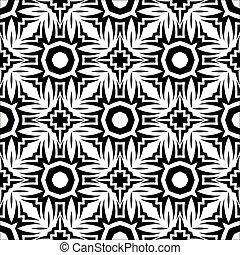 장식적이다, retro, 검정, 백색, seamless, 패턴