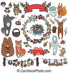 장식, 동물, 야생의, elements., 삼림지, doodles, 가을