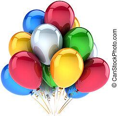 장식, 생일, 기구, 행복하다
