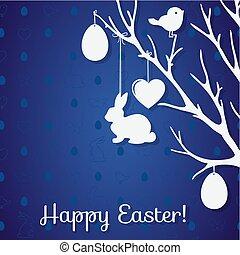 장식, 종이, 형태, 토끼, 나무, 부활절 달걀