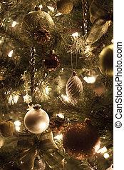 장식, 통하고 있는, 크리스마스 나무