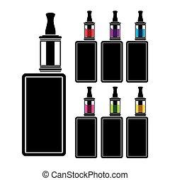 장치, vaping, -, 다채로운, 액체