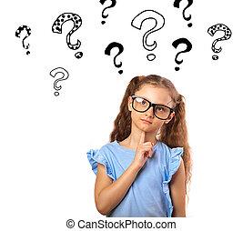 재미, 행복하다, 소녀, 에서, 안경, 생각, 와..., 위로 보는, 통하고 있는, 많은, 질문, 표, 삽화, 이상, 머리, 고립된, 백색 위에서, 배경, 와, 빈 광주리, 사본, space.