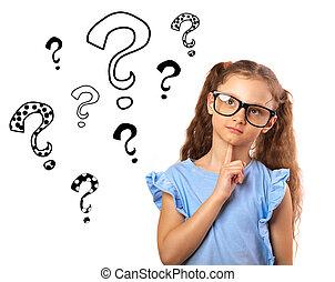 재미, 행복하다, 소녀, 에서, 안경, 생각, 와..., 위로 보는, 통하고 있는, 많은, 질문, 표, 삽화, 이상, 머리, 고립된, 백색 위에서, 배경., 클로우즈업