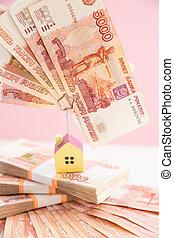재산, 돈, concept.russian, 돈., 보험, 핑크, 짐싣기, 저당, 고립된, background.business, 집, 대부, 실상의, 재정, concept.money, 돈, 은행, 축소형, 모델, 재산, 또는