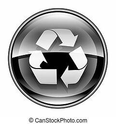 재생 상징, 아이콘, 검정, 고립된, 백색 위에서, 배경.